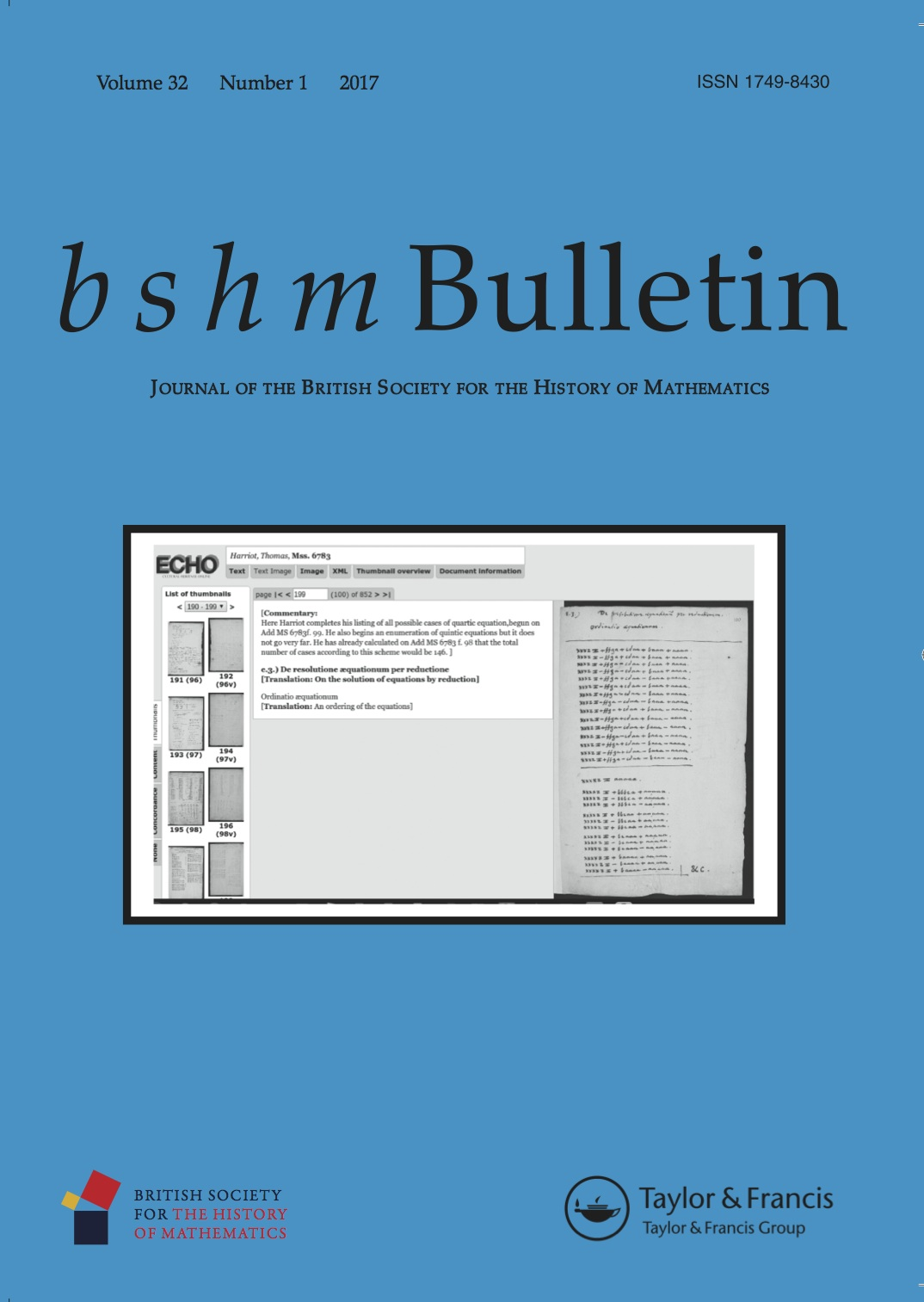 Image of cover of BSHM Bulletin vol 32 issue 1