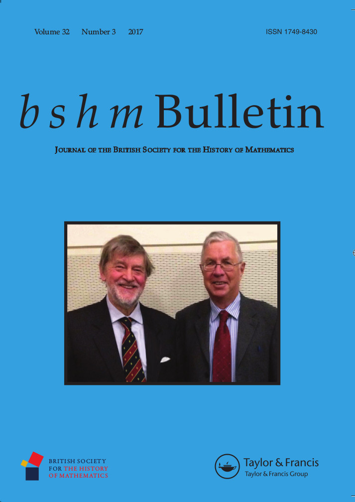 Front cover of BSHM Bulletin vol. 32, no. 3 (2017)