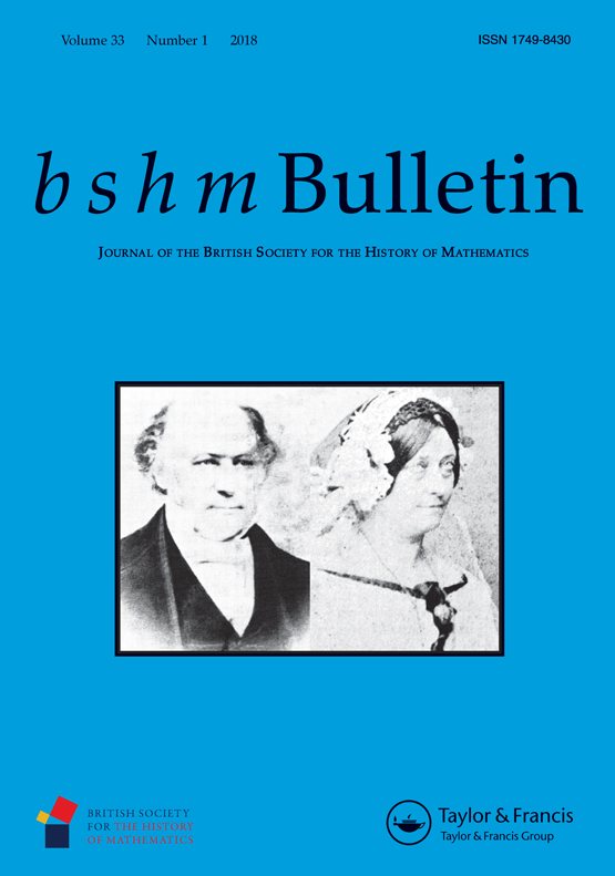 Front cover of BSHM Bulletin Vol.33 Issue 1