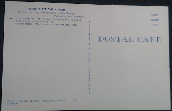 The back of the postcard of Sweeting's painting, showing the references