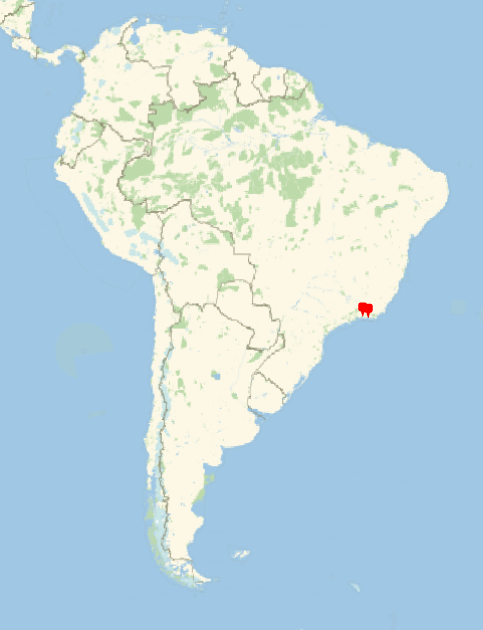 Map of BSHM members in South America, with pins in Brazil.