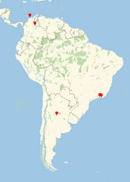 Map of BSHM members in South America, with pins in Brazil, Colombia, and Argentina.