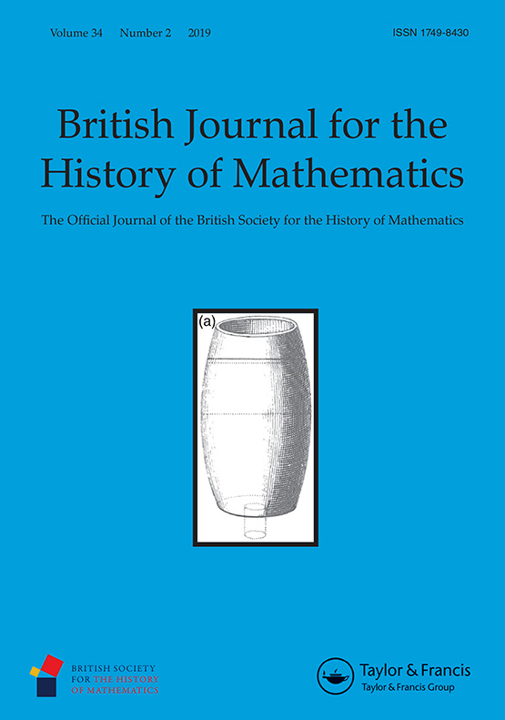 Cover of the British Journal for the History of Mathematics, Volume 34, Number 2