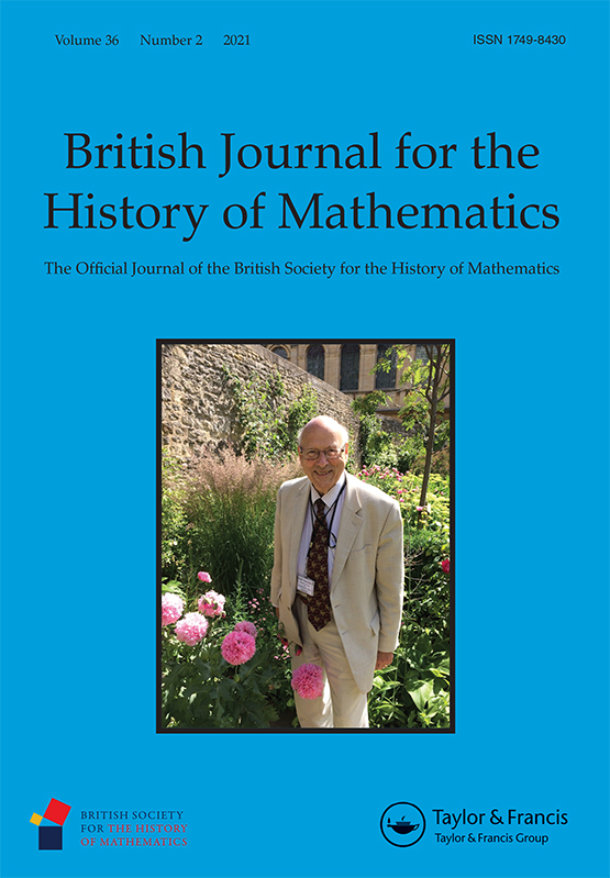 Cover of British Journal for the History of Mathematics, with a photograph of Peter Neumann.