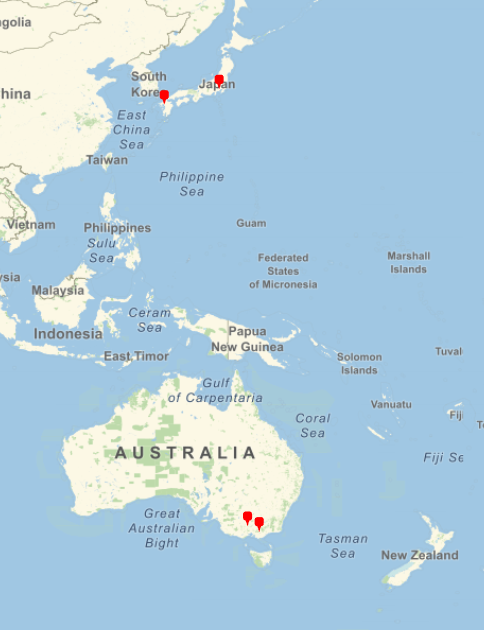 Map of BSHM members in West Pacific area, showing pins in Japan and Australia.