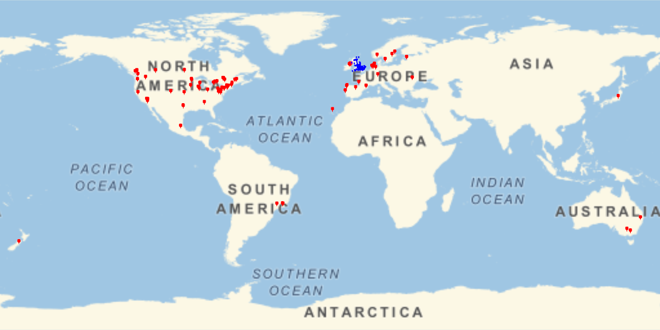 World map with markers indicating presence of BSHM members, concentrated in UK, Northern Europe, and USA.