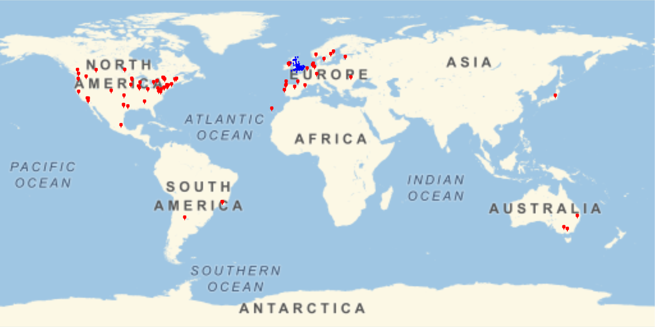 Map of BSHM members across the world, showing a concentration in English-speaking parts of the world.